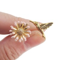 3D Hummingbird and Flower Shaped Stud Earrings in Gold