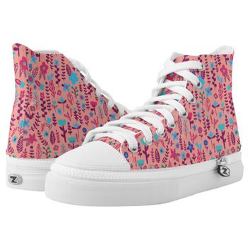 Doodle Flowers High-Top sneakers - Pink Color