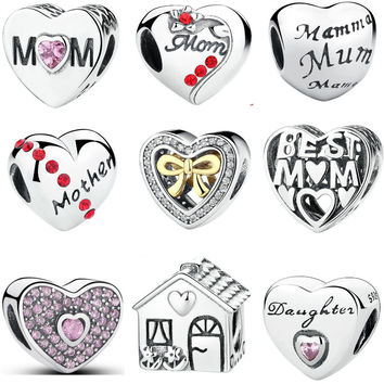 Original 925 Sterling Silver Heart Shape Love Pandora Bracelet Charms Beads Fit DIY Bracelet Jewelry Mother's Day Gift