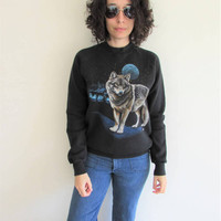 Vintage 80s Distressed Faded Black Wildlife Full Moon Wolf Hipster Sweatshirt
