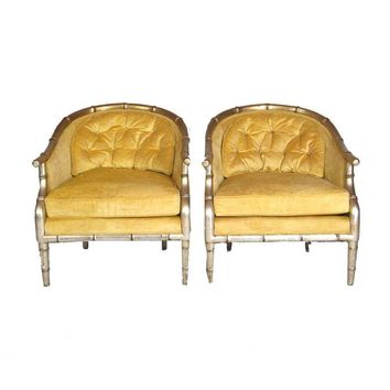 Pre-owned Faux Bamboo Tufted Slipper Chairs - A Pair