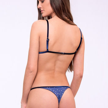 Dbrie Swim Demi Bottom - Aquarius/Indigo Velvet Trim