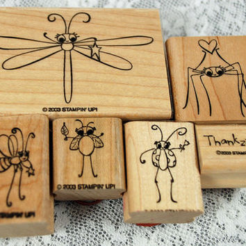 "Stampin' Up Rubber Stamp Set - RETIRED 2003 - ""Cute as a Bug"" - Scrapbooking, Card Making, Crafting, Journaling, Book Making"