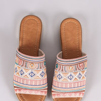 Liliana Tribal Embroidery Slide Sandal