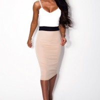 Naked Bud Nude Bodycon Midi Dress | Pink Boutique