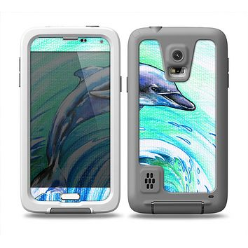 The Pastel Vibrant Blue Dolphin Skin for the Samsung Galaxy S5 frē LifeProof Case