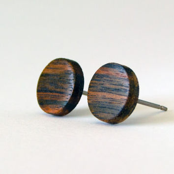 Ebony Wood Studs, wood earrings, unisex, mens stud earrings, wood stud earrings, Macassar Ebony, wood post earrings, natural wood studs