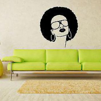 Wall Stickers Vinyl Decal Hot Black Hippie Girl Sunglasses Beauty Salon Unique Gift EM568