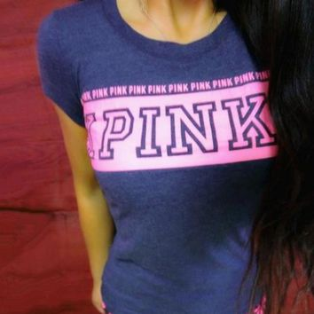 victoria s secret pink fashion short sleeve t shirt top tee