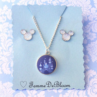 "Handmade ""Diamond Celebration"" Disney Inspired Castle Necklace and Earring Set"