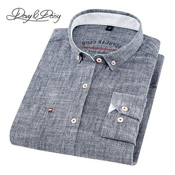 DAVYDAISY 2019 High Quality Men Shirt Long Sleeve Cotton And Linen Turn-Down Collar Dress Solid Casual Shirt Men Camisas DS-240