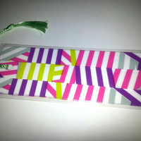 Handmade Retro Fun Striped Colorful Cardstock Laminated Bookmark