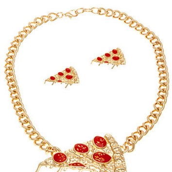 The Fashion Blog Favorite - Gold Pizza Party Necklace & Earrings Set