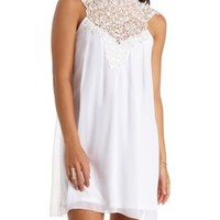 Lace Mock Neck Halter Shift Dress by Charlotte Russe - Ivory