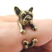 French Bulldog Puppy Dog Animal Wrap Around Ring in Brass - Sizes 4 to 9