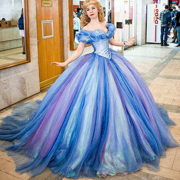 Full set Cinderella dress 2015 Halloween costume Adult