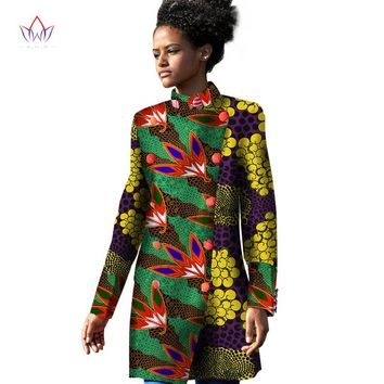 2017 Spring Traditional African Women Trench Coat African Trench Coat for Women Long Sleeve Print Cotton Oversize 6XL BRW WY1137