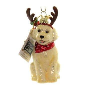 Holiday Ornaments DOG WITH ANTLERS. Glass Christmas Puppy Nb1448 Lab Doodle