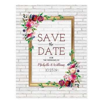 Elegant Rustic Fall Château Save the Date Postcard
