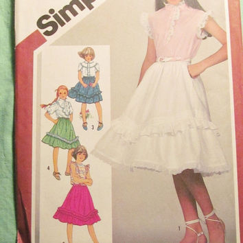 Sale Uncut 1980's Simplicity Sewing Pattern, 5906! Size 14 Girls/Full Flare Skirts/Swing Skirts/Tiered & Ruffled Skirts/Knee Length Peticoat