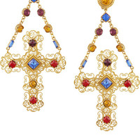 Dolce & Gabbana | Gemme gold-plated Swarovski crystal cross clip earrings | NET-A-PORTER.COM