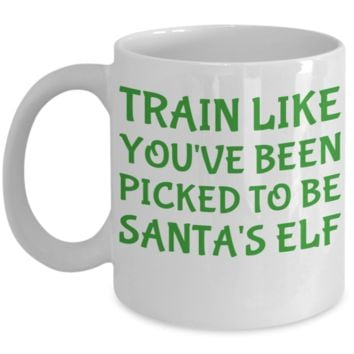 Motivation Fit Mom Morning Coffee Mug - Funny Sayings & Quotes Christmas Elf Workout Mug Gift for Fit Moms, Women, Grandmas, Girlfriends, Sisters - Hot X-Mas Cocoa, Coffee & Tea Cup