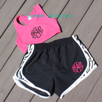Sports Bra Monogrammed Preppy Monogram  by PumpkinTailBoutique