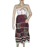 Women Boho Dress- Maroon Multi Wear Strapless Smocked Waist Cotton Bohemian Skirt $31.99