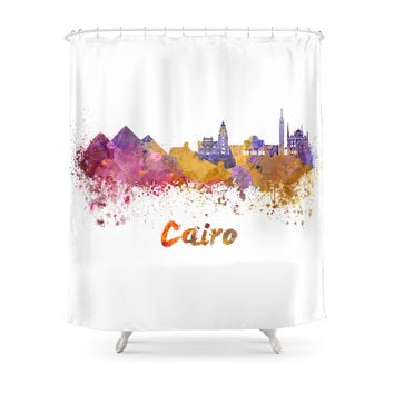 Society6 Cairo Skyline In Watercolor Shower Curtain