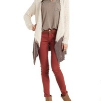 Oatmeal Nubby Color Block Cascade Cardigan Sweater by Charlotte Russe