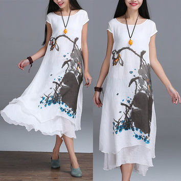 2016 New Summer Chinese Style O-neck Linen Cotton Slim Dress False Two Art Print Ink Loose Casual White Maxi Work Dresses Design