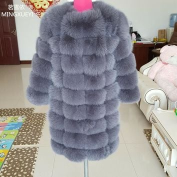 Length 90cm Fox fur coat Arrival Super Warm Winter Women's Real Silver Fox Fur Coat Natural Fox Color Overcoat Full Sleeve