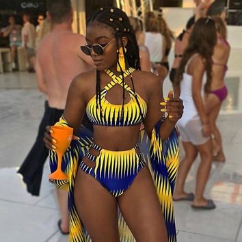 Bikini African Print 2019 New Two-Pieces Bath Suits Bikini Set Sexy Swimwear Swimsuit High Waist Swimming Suit Monokini