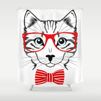 Hipster Cat with Red Glasses Shower Curtain by Smyrna