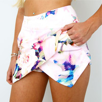 PASTEL PINK ROSE FLORAL PRINTS DOUBLE POINTY WRAP SKORT SHORTS 6 8 10 12