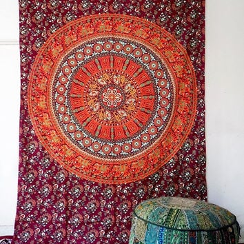 SMALL cotton indian elephant mandala hippie wall hanging tapestry boho bohemian bedding throw ethnic mandala wall decorative art