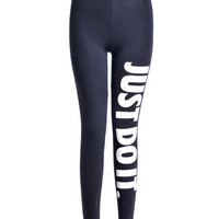 Casual Letter Printed Sports Leggings