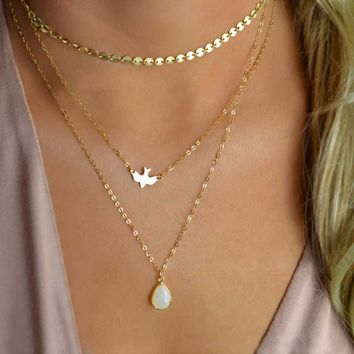 Flying Peace Dove Multilayer Necklace