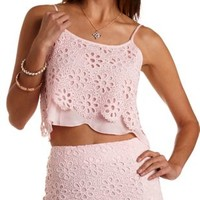 Eyelet Lace Swing Crop Top by Charlotte Russe