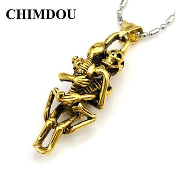 CHIMDOU fashion stainless steel hugging double skeleton skull pendant cross necklace link chain for men jewelry AP123 - Gold Color