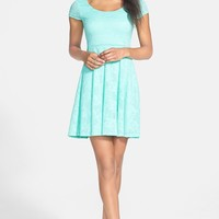 Soprano Lace Cap Sleeve Skater Dress (Juniors)