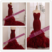 Free Shipping --- Elegant  Custom-made Strapless  Long Floor Length Red  Burgundy Mermaid  Wedding Dresses Bridal Dresses