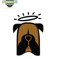 Boxer decal - angel dog, halo dog car vinyl sticker - other Smooshface dog breeds options