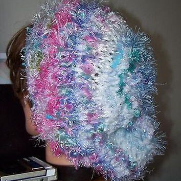 Slouchy Beanie Hand Knit Beret White Baggy Fuzzy Oversize Hat Warm New Thick Multicolor Purple Pink Blue Unique