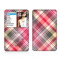The Pink & Tan Plaid Layered Pattern V5 Skin For The Apple iPod Classic