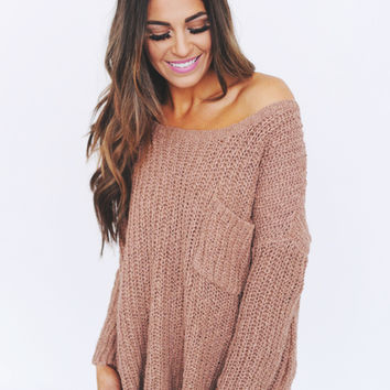Dusty Rose Pocket Sweater