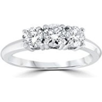 234 1 Carat 3-Stone Diamond Engagement Ring Solitaire Round Cut 14k White Gold