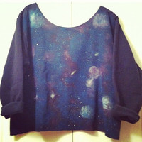 Galaxy Off the Shoulder fleece sweatshirt 3/4 roll up Sleeves Planets, Stars, Milky Way Fits small, medium, large