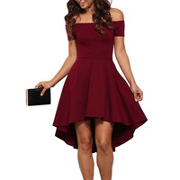 Women Solid Color Fashion boat neck strapless Short Sleeve Mini Dress