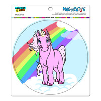 Unicorn Pony - Rainbow Pink Circle MAG-NEATO'S TM Car-Refrigerator Magnet